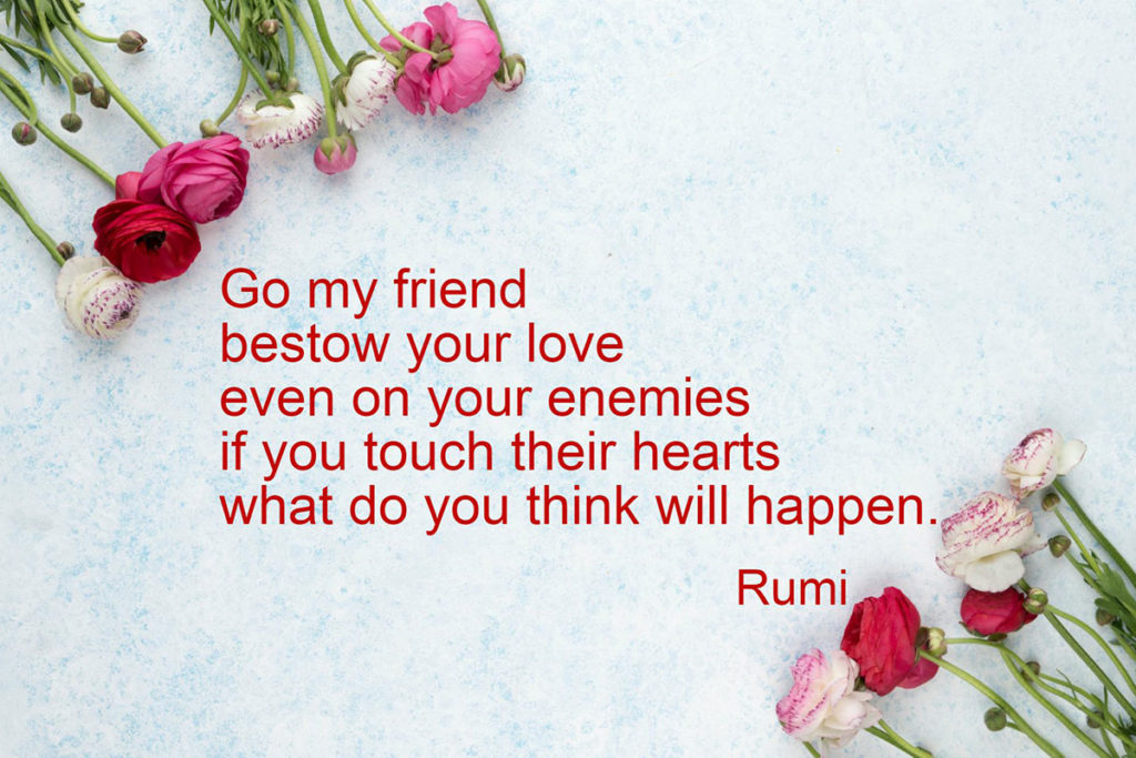 Rumi quote: Go my friend; bestow your love even on your enemies; if you touch their hearts what do you think will happen?