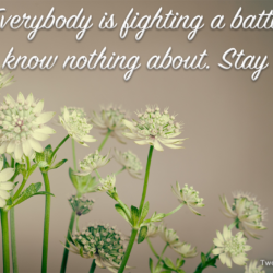 Everybody is fighting a battle you know nothing about. Stay kind.