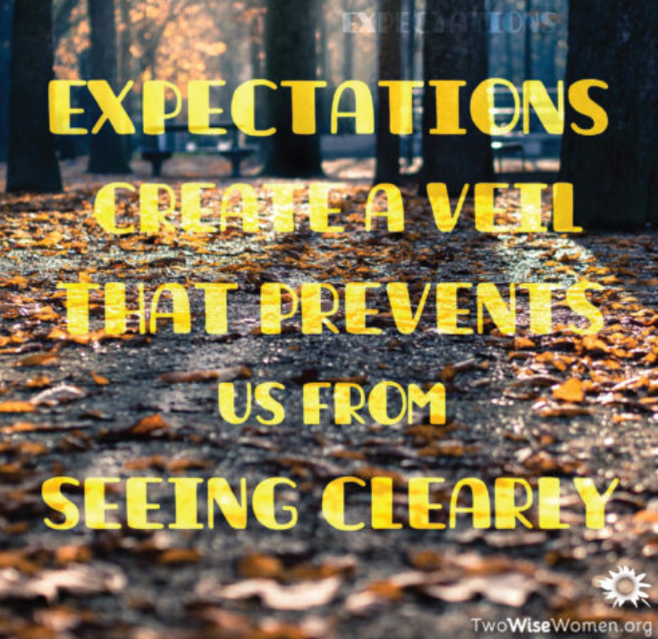 Expectations create a veil that prevents us from seeing clearly.
